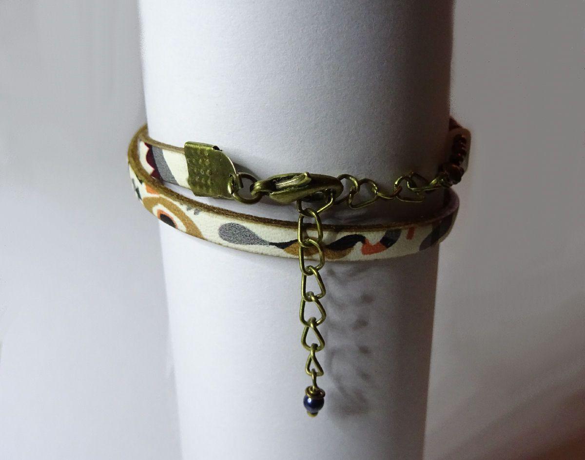 Kit bracelet cuir 2 tours perles Silky Blanc