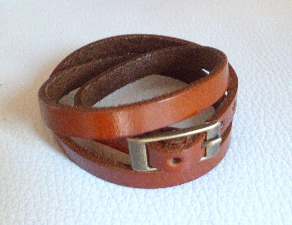 Bracelet cuir triple tour Marron pour montre