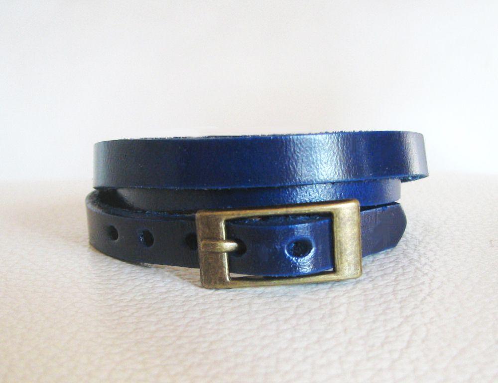 Bracelet cuir triple tour Bleu pour montre