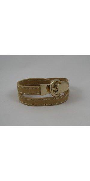 Bracelet double cuir pêche boucle dorée