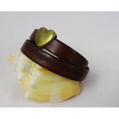 Bracelet double cuir cognac gravé et coeur
