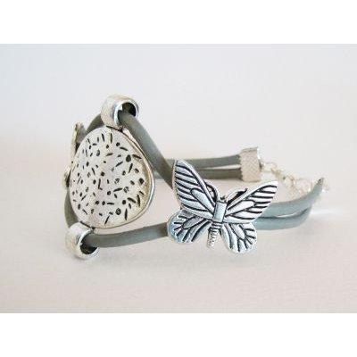Bracelet double cuir gris