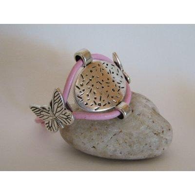 Bracelet double cuir rose