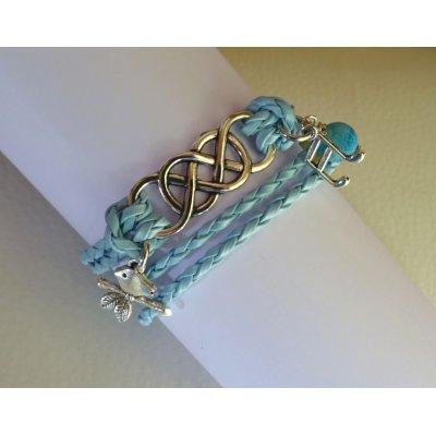 Bracelet double infini et double tour cuir tressé bleu