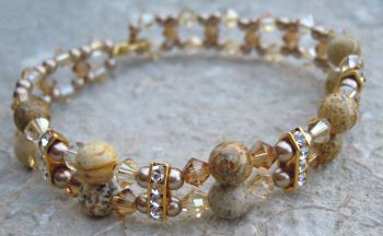 Bracelet Double Swarovski/Jaspe Paysage en kit