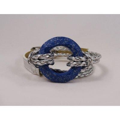 Bracelet double tour Anneau Swarovski bleu