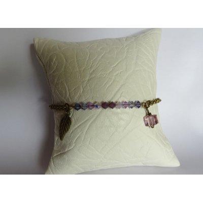 Bracelet fin chaîne bronze Violet