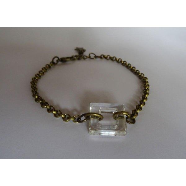 Bracelet fin chaîne bronze Carré Crystal