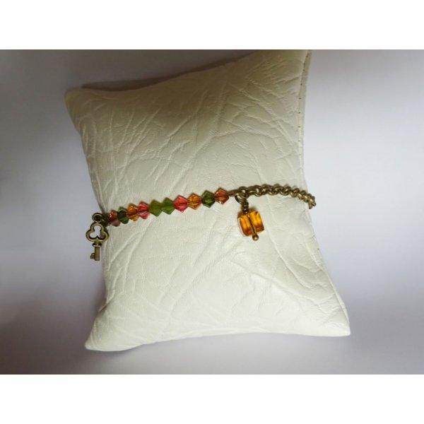 Bracelet fin chaîne bronze Ambre et Olivine