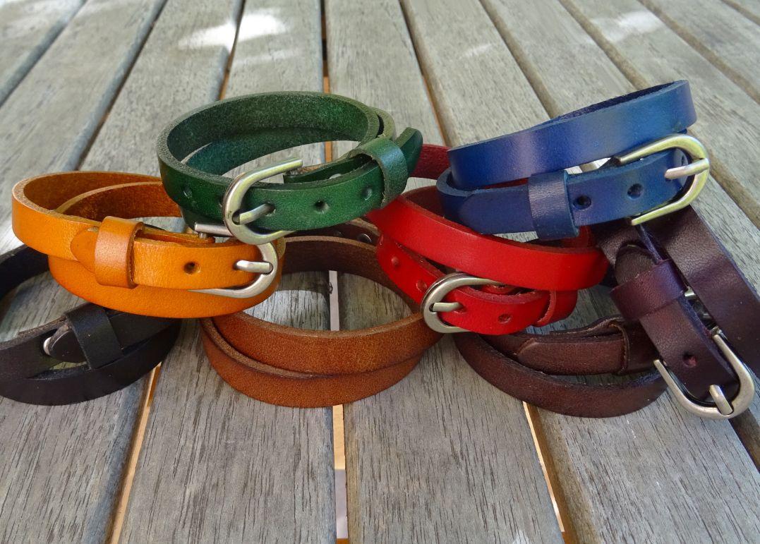 Bracelet Homme en cuir double tour Gravé