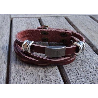 Bracelet homme cuir Marron double tressé
