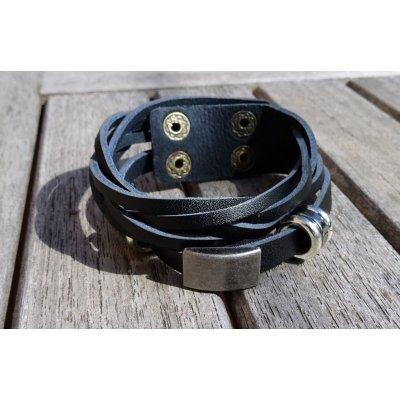 Bracelet homme cuir Noir double tressé
