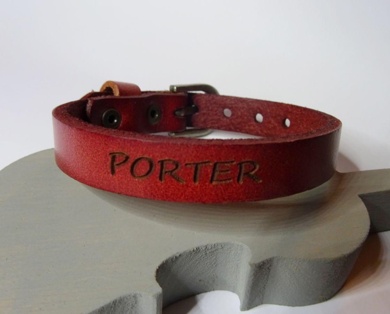 Bracelet Homme en cuir rouge à personnaliser par gravure