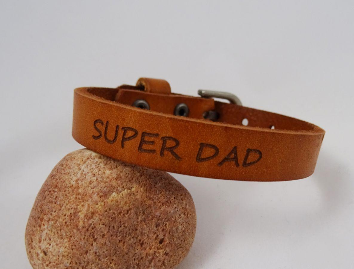 Bracelet Homme en cuir SUPER DAD coloris Camel