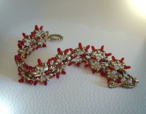 Tutoriel bracelet Indiana Rouge & or