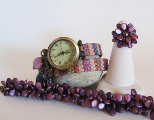 Bracelet en kit Duo perles Pip Burgundy