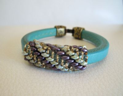 Bracelet en kit Regaliz turquoise perles Violet/Vert