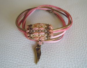 Bracelet Saipan double tour  cuir rosé