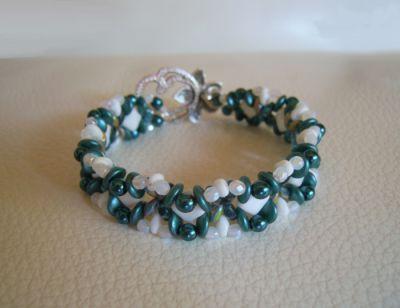 Tutoriel bracelet Silky Blanc Sarcelle