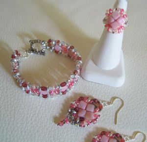 Boucles d'oreilles en kit Silky Rose argenté