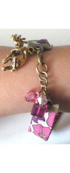 Bracelet Liberty Fuchsia breloques Swarovski