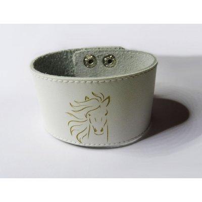 Bracelet manchette cuir blanc Cheval gravé