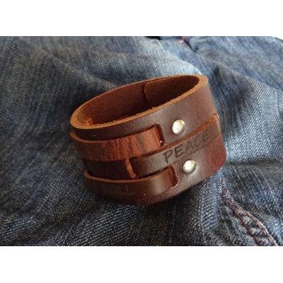 Bracelet manchette cuir homme gravé 4 mots