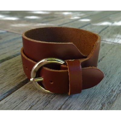 Bracelet mixte manchette double en cuir à graver