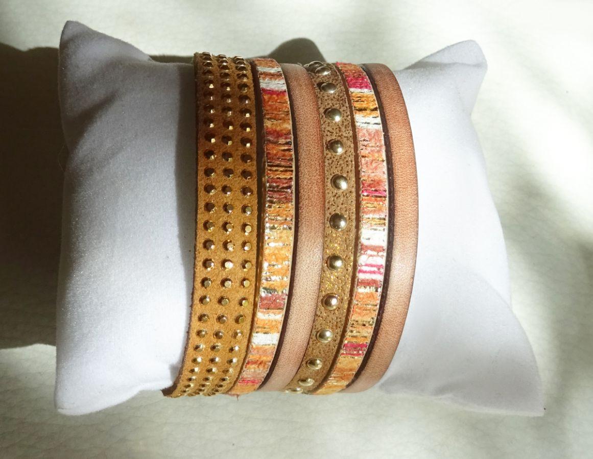 Bracelet manchette multi cuir tons ocres