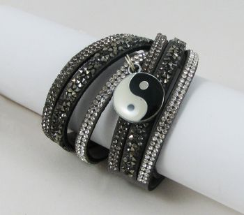 Bracelet manchette Noir strass argent breloque Yin-Yang