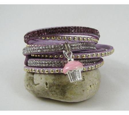 Bracelet manchette suédine strass Lilas  Muffin gourmand