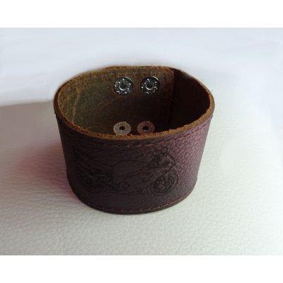 Bracelet mixte manchette cuir marron