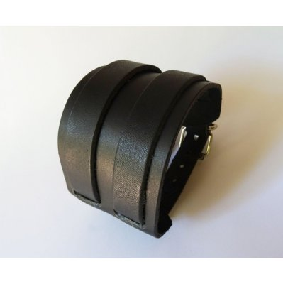 Bracelet mixte manchette Noir à 2 bandes