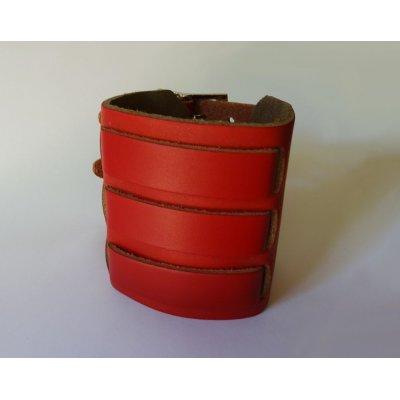 Bracelet mixte manchette Rouge à 3 bandes