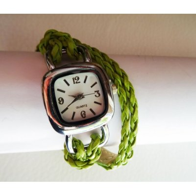 Bracelet montre tressé fuchsia