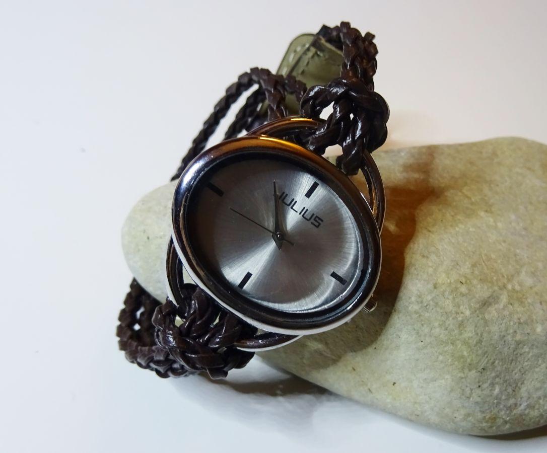 Bracelet montre tressé marron