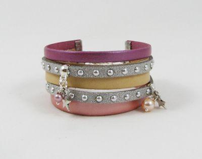 Bracelet multi cordons cuir Pêche et rose