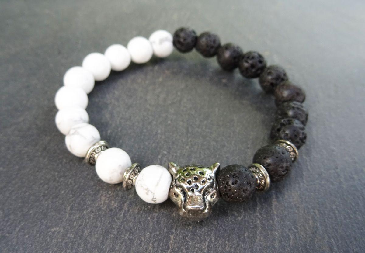 Bracelet perles de lave et Howlite avec tigre