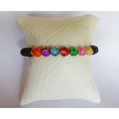 Bracelet perles de lave noires et 7 couleurs