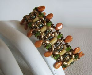 Bracelet Pip + médaillon Olivine et ocre en kit