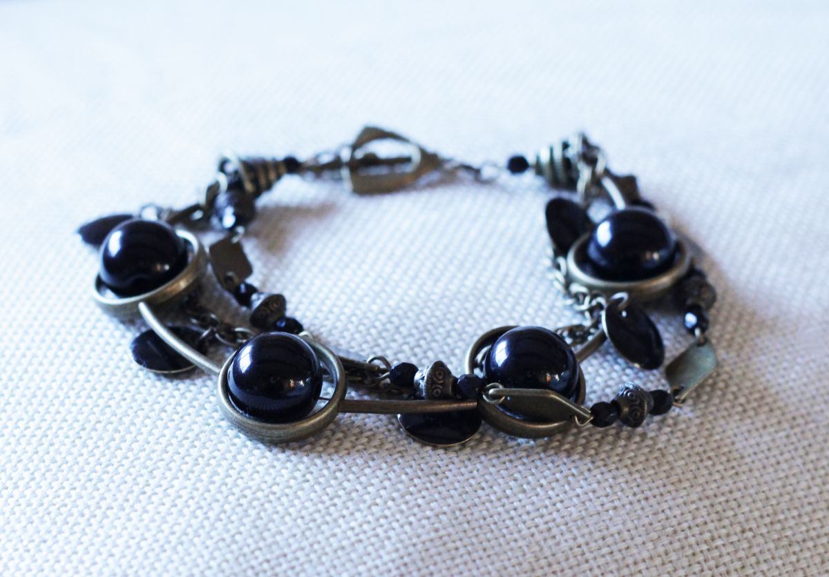 Bracelet 3 rangs Noir & bronze