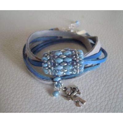 Bracelet Saipan double tour  cuir bleu