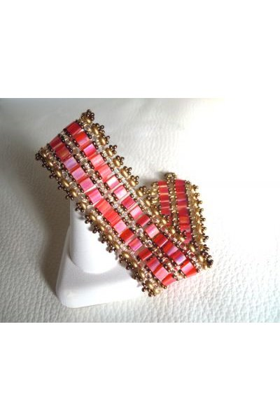 Bracelet Tila Bandeau Corail en kit
