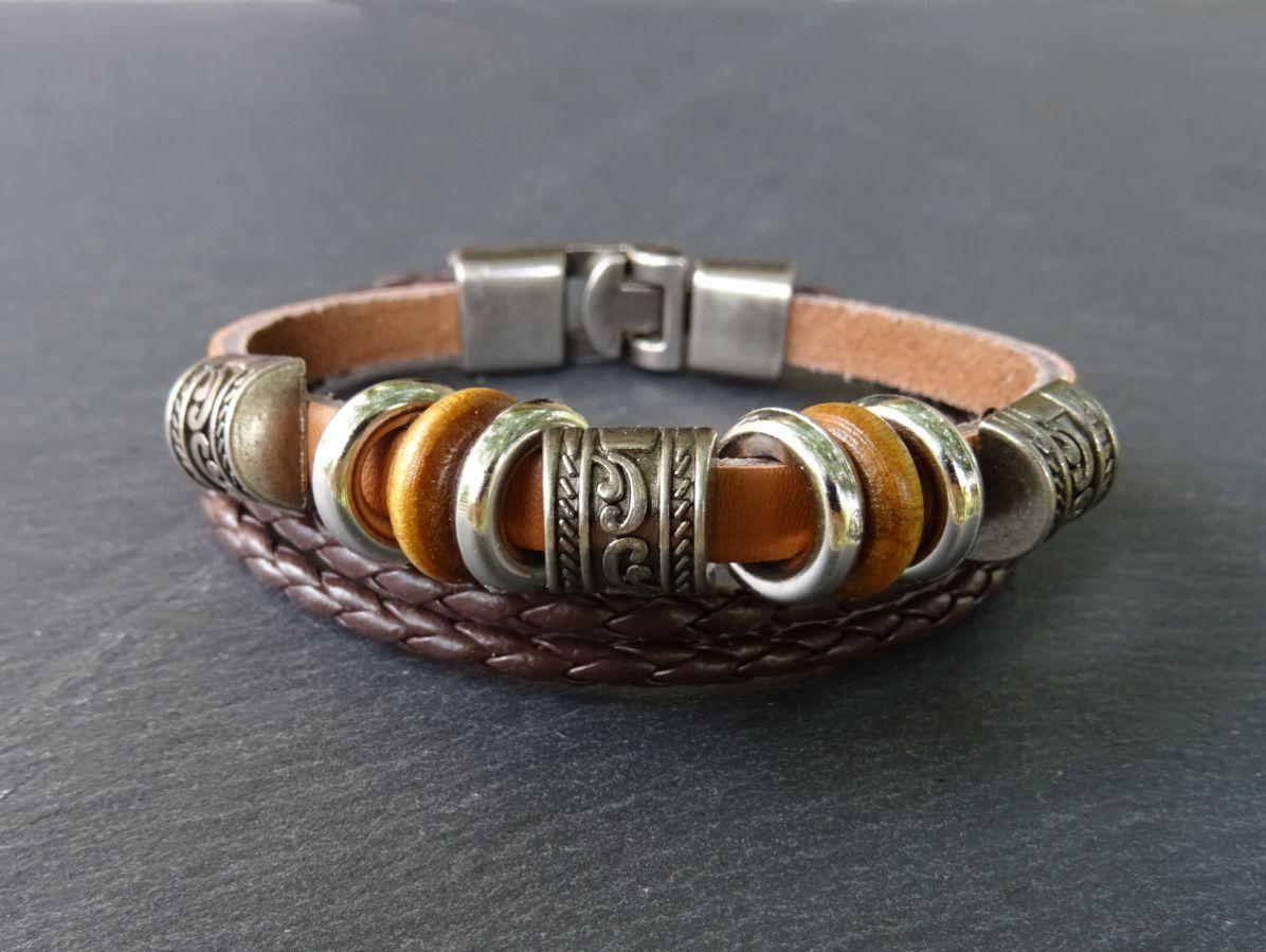 Bracelet unisexe cuir camel/marron rondelles