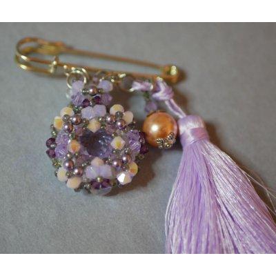 Broche Andros Violet Pompon Mauve