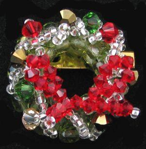 Broche Couronne de Noël rouge en kit