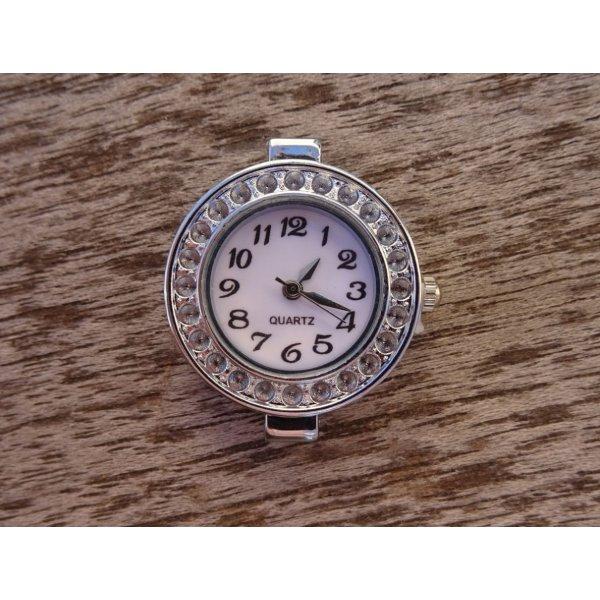 Cadran de montre argenté blanc rond