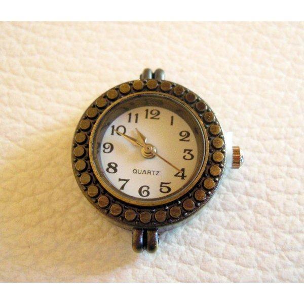 Cadran montre rond bronze et blanc petits passants fixes