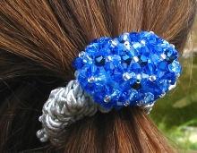 Chouchou en perles bleues en kit