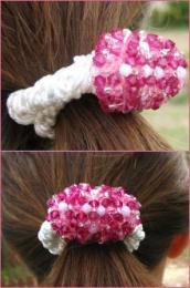 Chouchou en perles roses en kit